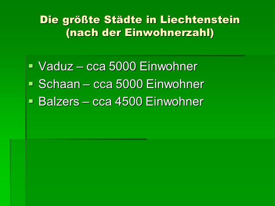 Die größte Städte in Liechtenstein (nach der Einwohnerzahl)