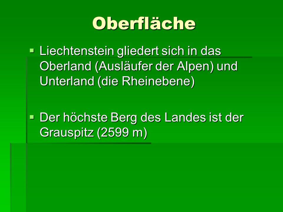 Oberfläche Liechtenstein gliedert sich in das Oberland (Ausläufer der Alpen) und Unterland (die Rheinebene)