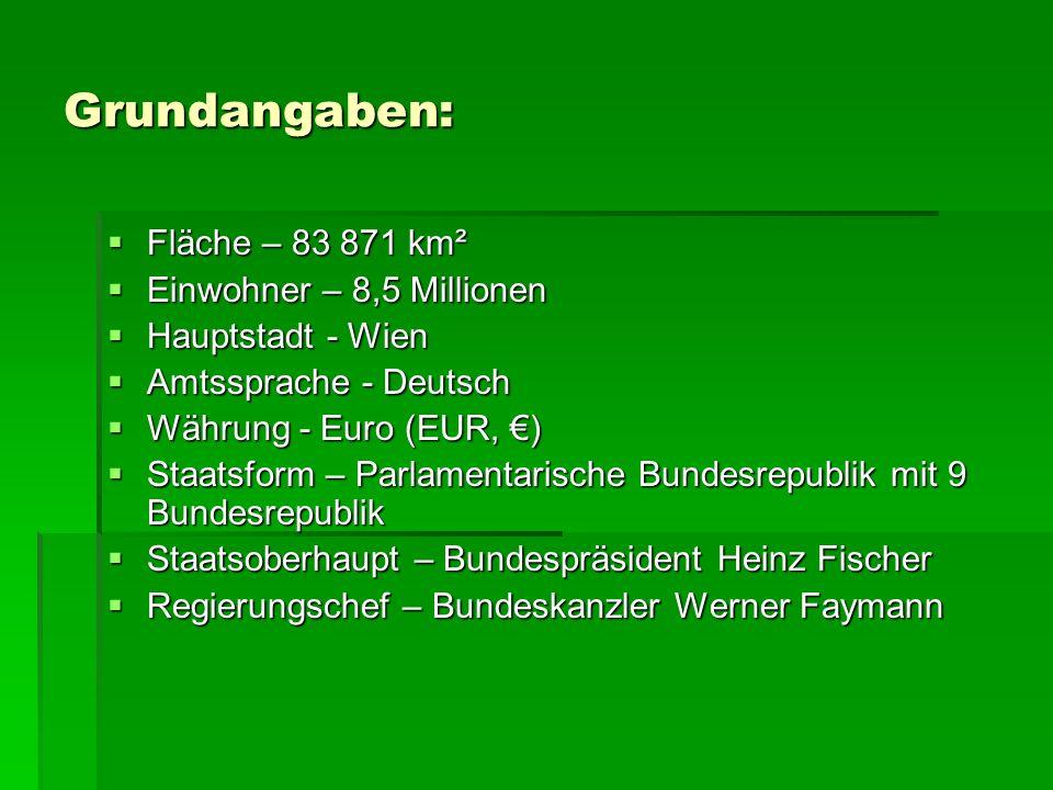 Grundangaben: Fläche – 83 871 km² Einwohner – 8,5 Millionen