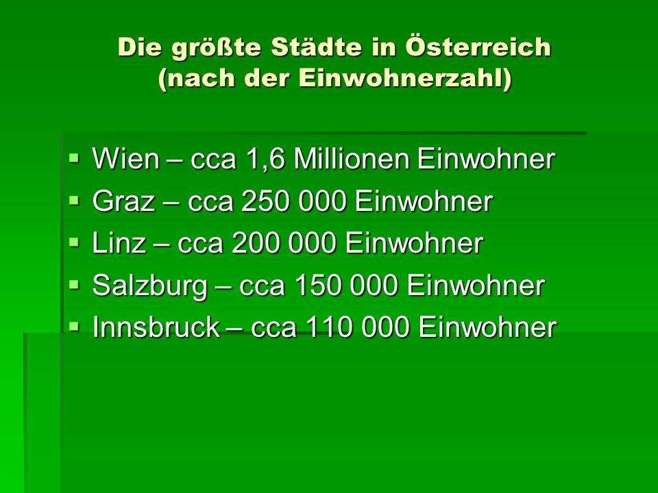 Die größte Städte in Österreich (nach der Einwohnerzahl)