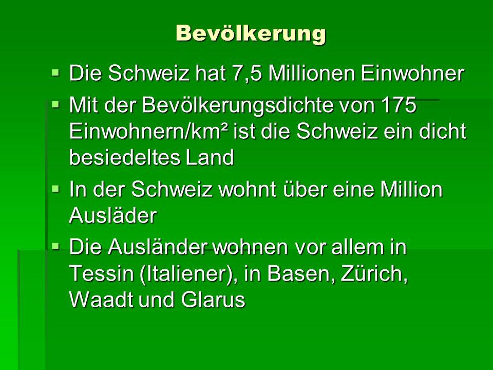 Bevölkerung Die Schweiz hat 7,5 Millionen Einwohner. Mit der Bevölkerungsdichte von 175 Einwohnern/km² ist die Schweiz ein dicht besiedeltes Land.