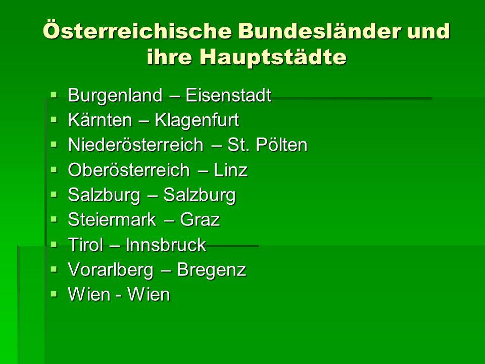 Österreichische Bundesländer und ihre Hauptstädte