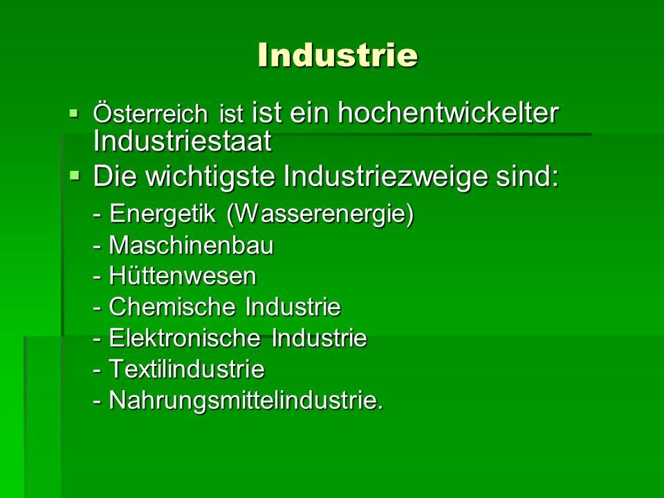 Industrie Die wichtigste Industriezweige sind: