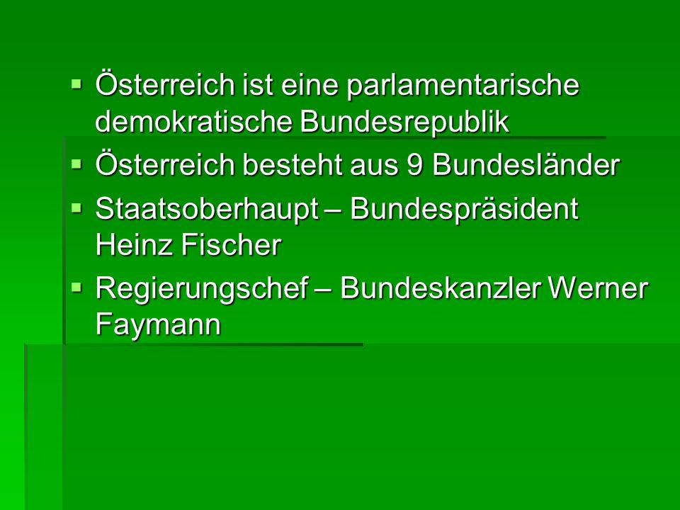 Österreich ist eine parlamentarische demokratische Bundesrepublik