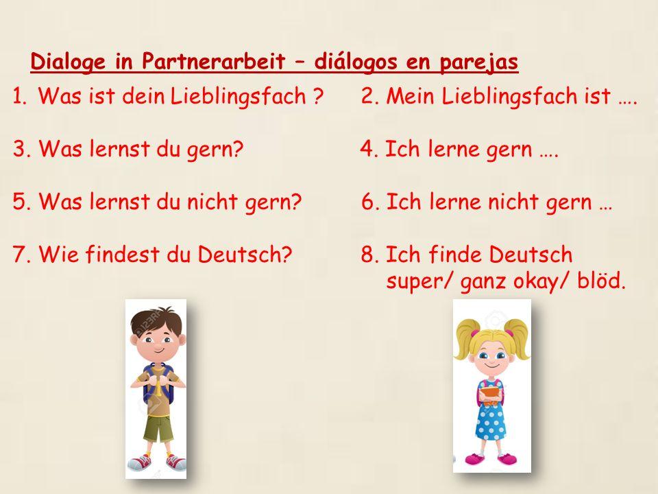 Dialoge in Partnerarbeit – diálogos en parejas