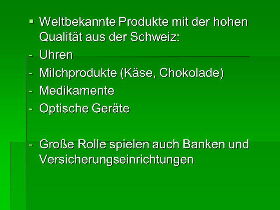 Weltbekannte Produkte mit der hohen Qualität aus der Schweiz: