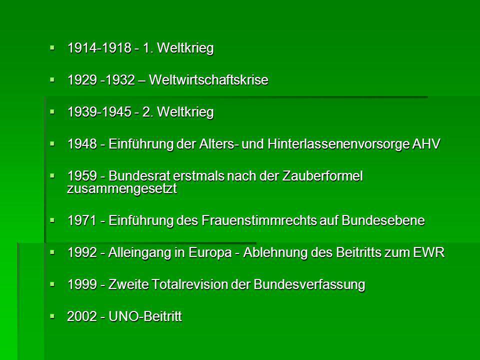 1914-1918 - 1. Weltkrieg 1929 -1932 – Weltwirtschaftskrise. 1939-1945 - 2. Weltkrieg. 1948 - Einführung der Alters- und Hinterlassenenvorsorge AHV.