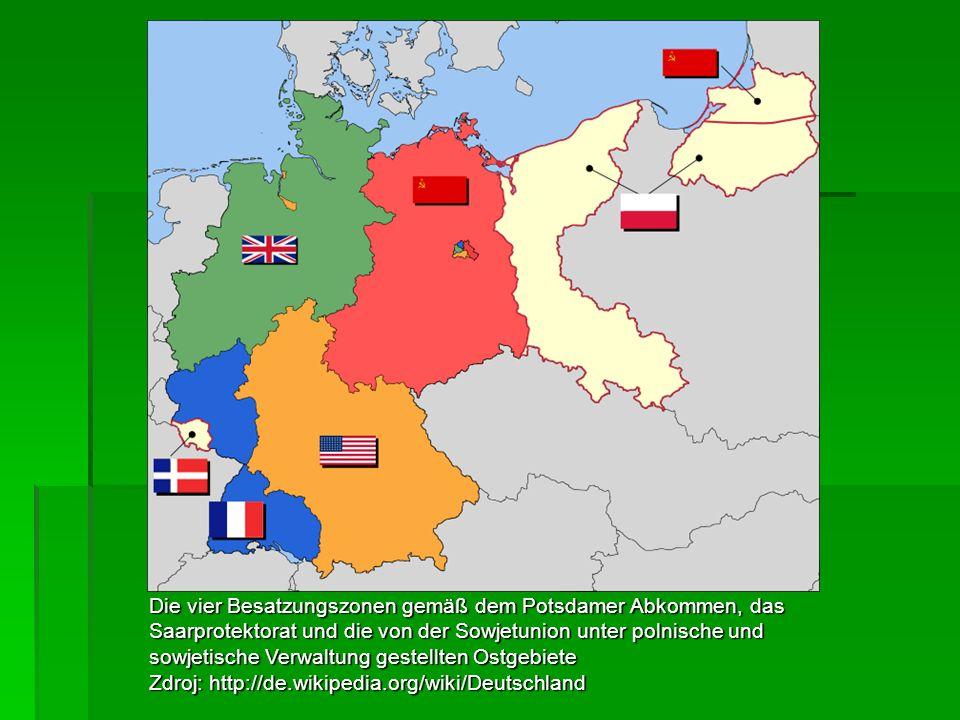 Die vier Besatzungszonen gemäß dem Potsdamer Abkommen, das Saarprotektorat und die von der Sowjetunion unter polnische und sowjetische Verwaltung gestellten Ostgebiete