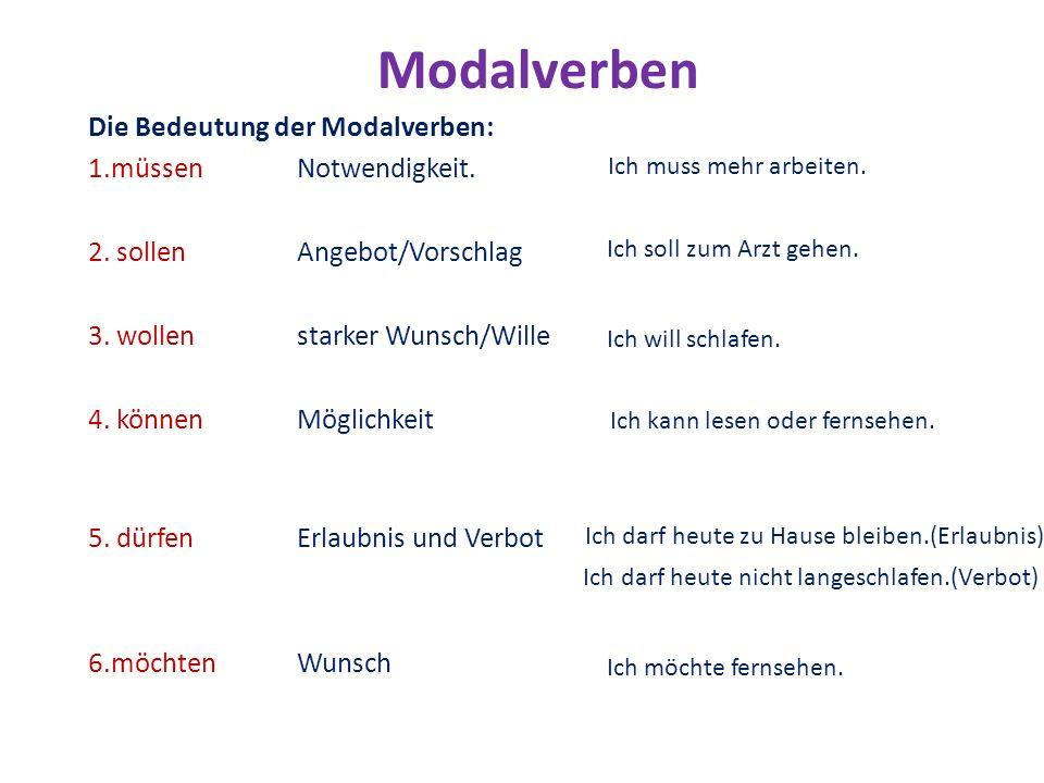 Modalverben Die Bedeutung der Modalverben: 1.müssen Notwendigkeit.