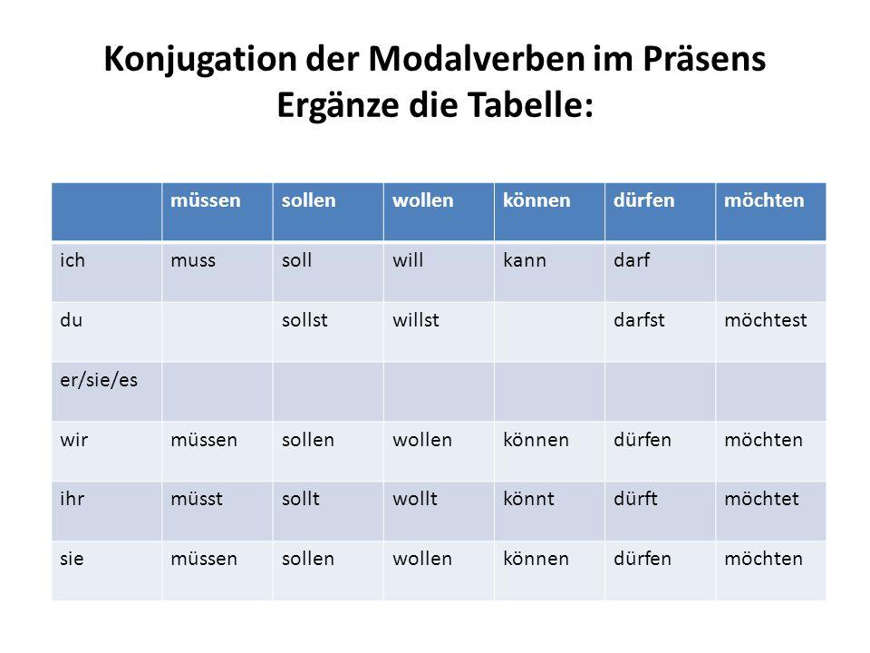 Konjugation der Modalverben im Präsens Ergänze die Tabelle:
