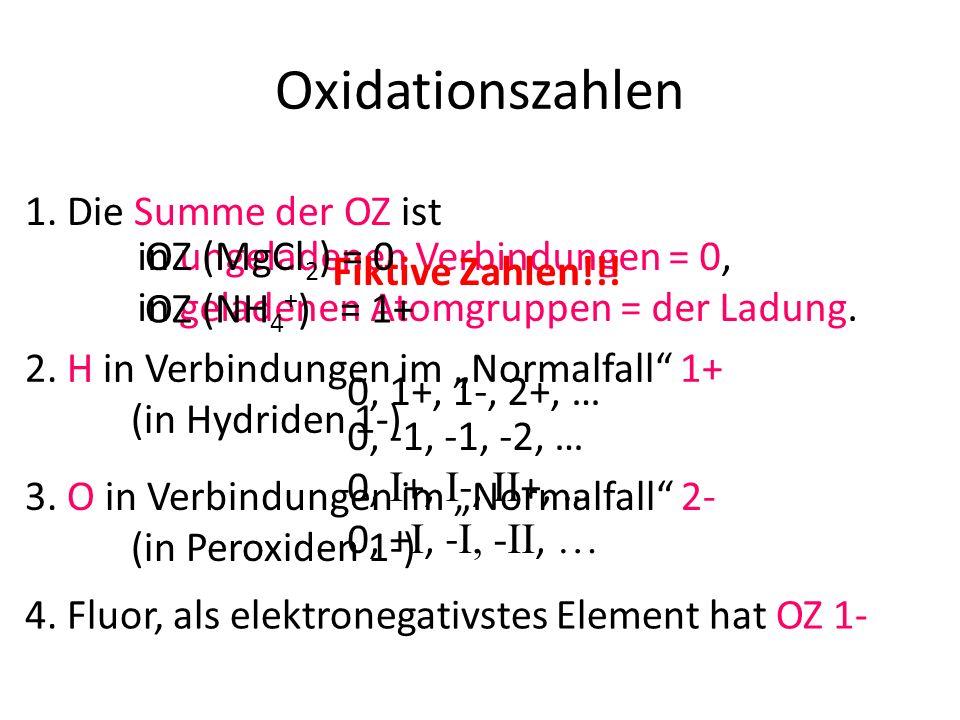 Oxidationszahlen 1. Die Summe der OZ ist