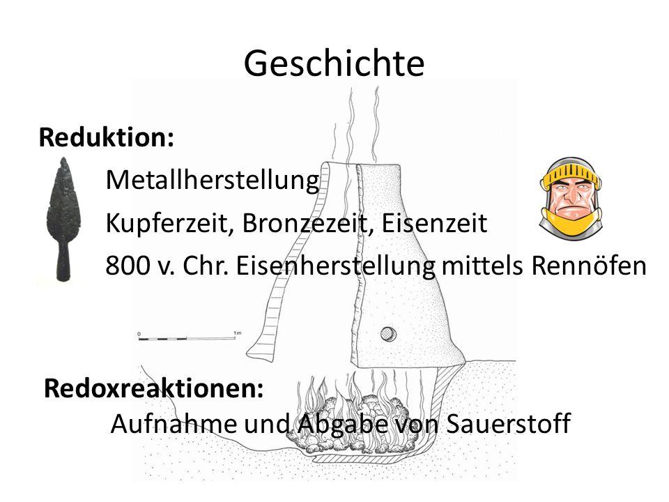 GeschichteReduktion: Metallherstellung Kupferzeit, Bronzezeit, Eisenzeit 800 v. Chr. Eisenherstellung mittels Rennöfen