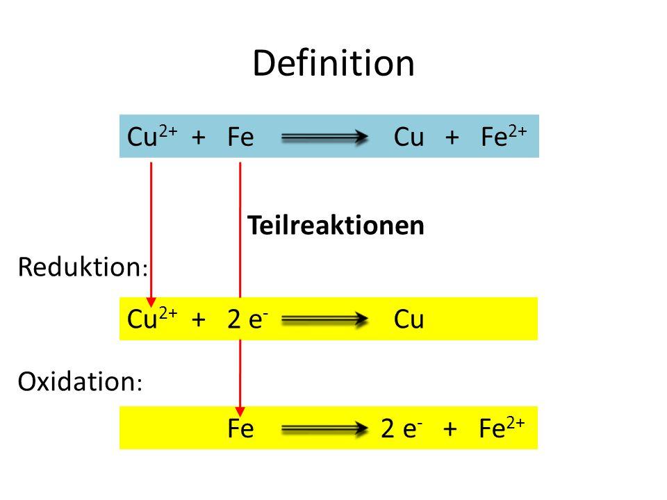 Definition Cu2+ + Fe Cu + Fe2+ Teilreaktionen Reduktion: