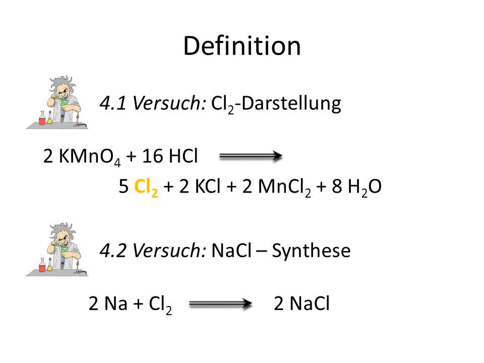 Definition 4.1 Versuch: Cl2-Darstellung 2 KMnO4 + 16 HCl
