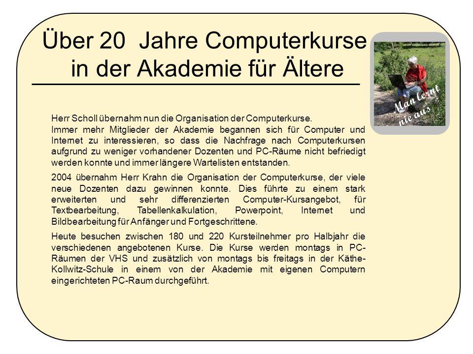 Über 20 Jahre Computerkurse in der Akademie für Ältere
