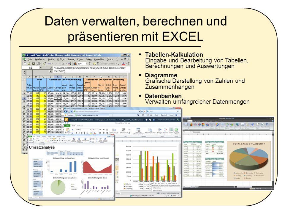 Daten verwalten, berechnen und präsentieren mit EXCEL