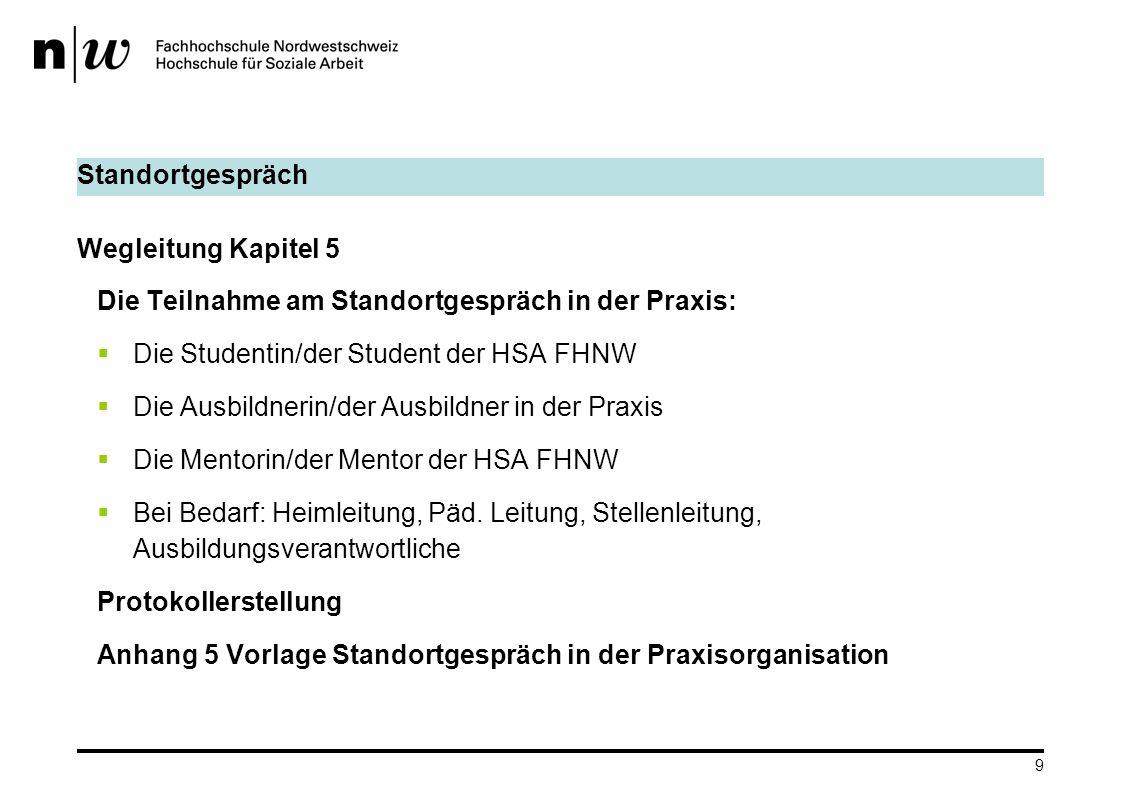 Standortgespräch Wegleitung Kapitel 5. Die Teilnahme am Standortgespräch in der Praxis: Die Studentin/der Student der HSA FHNW.
