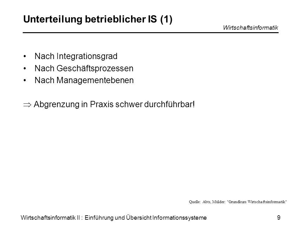 Unterteilung betrieblicher IS (1)