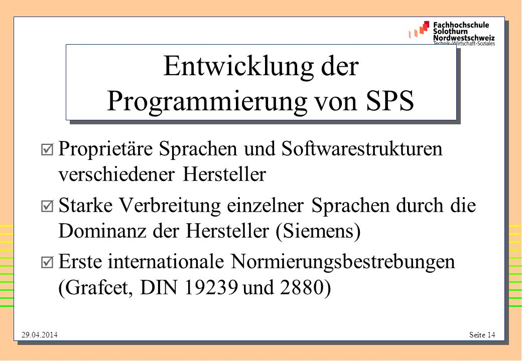 Entwicklung der Programmierung von SPS