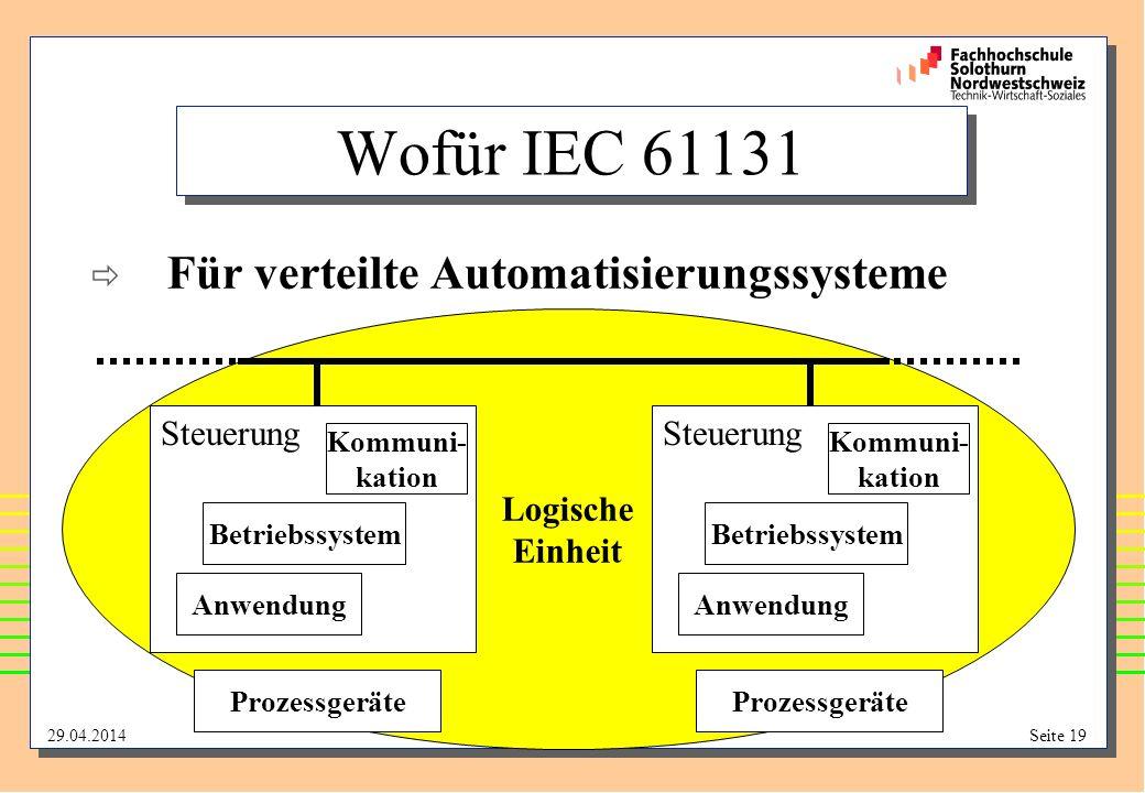 Wofür IEC 61131 Für verteilte Automatisierungssysteme Logische Einheit