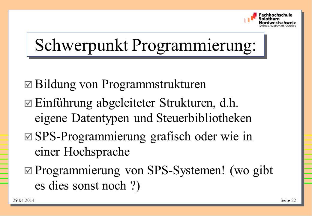 Schwerpunkt Programmierung: