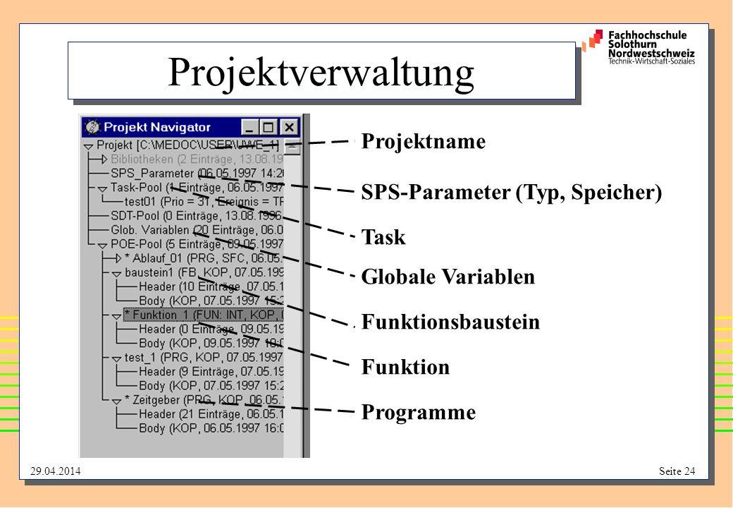 Projektverwaltung Projektname SPS-Parameter (Typ, Speicher) Task