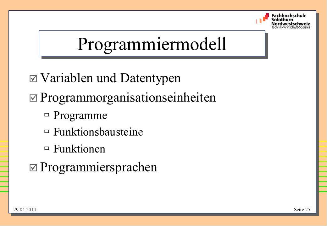 Programmiermodell Variablen und Datentypen