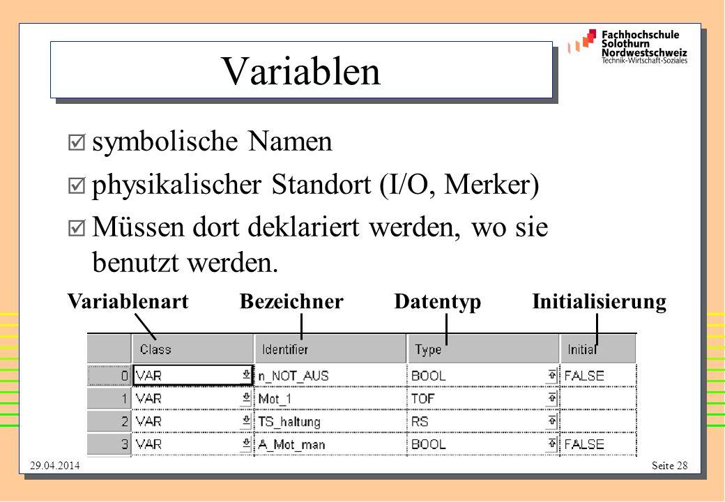 Variablen symbolische Namen physikalischer Standort (I/O, Merker)