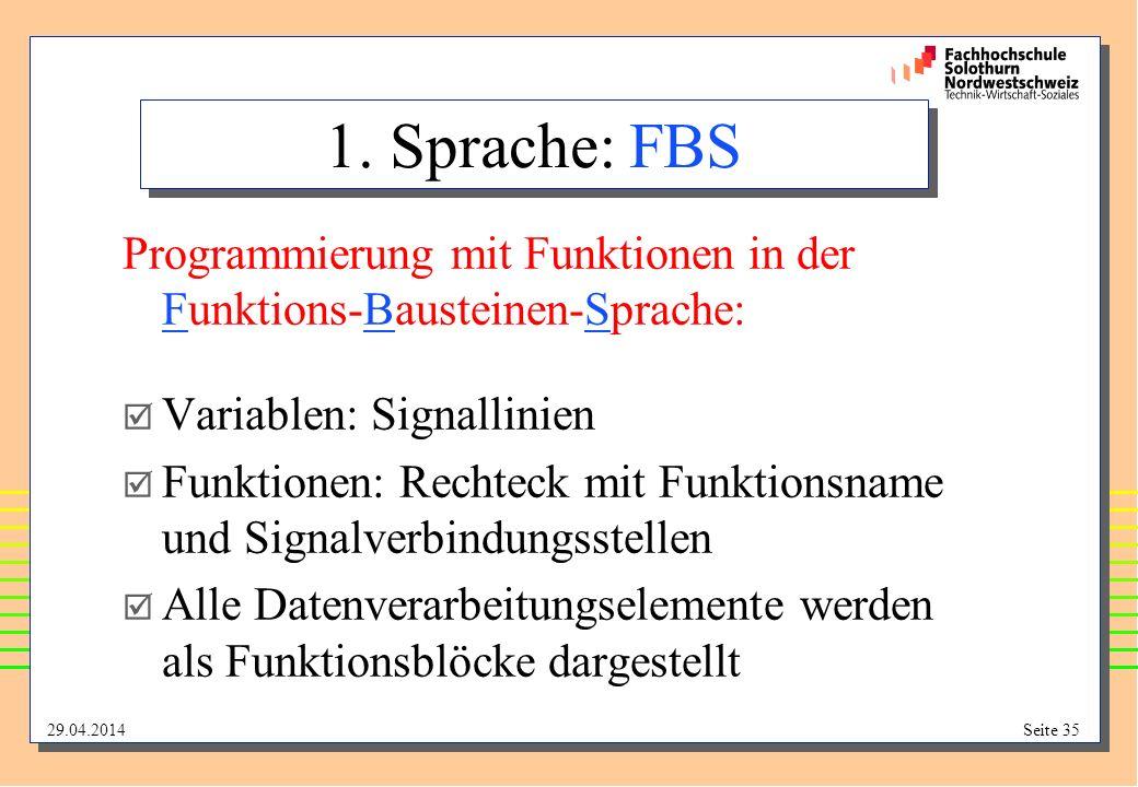 1. Sprache: FBS Programmierung mit Funktionen in der Funktions-Bausteinen-Sprache: Variablen: Signallinien.