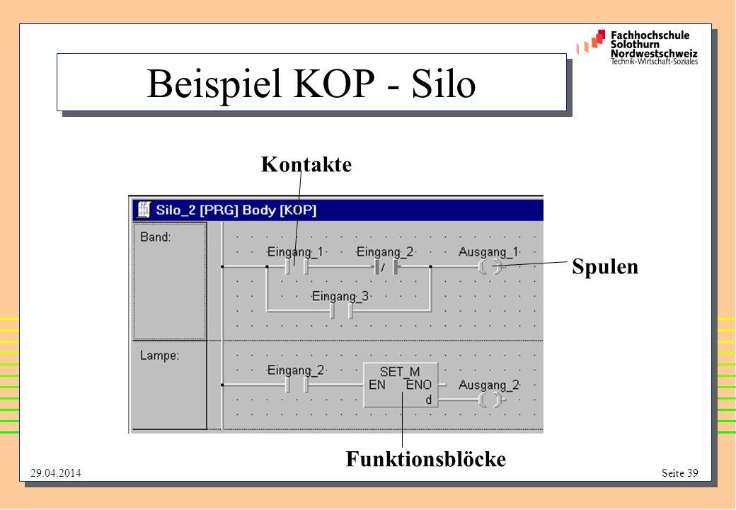 Beispiel KOP - Silo Kontakte Spulen Funktionsblöcke