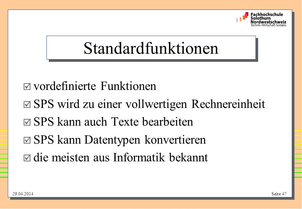 Standardfunktionen vordefinierte Funktionen