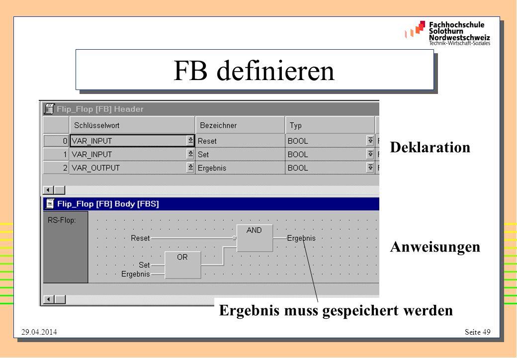 FB definieren Deklaration Anweisungen Ergebnis muss gespeichert werden