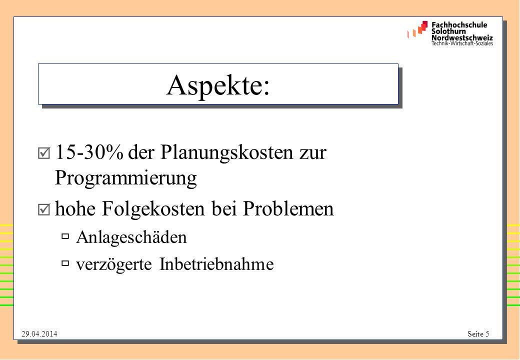 Aspekte: 15-30% der Planungskosten zur Programmierung