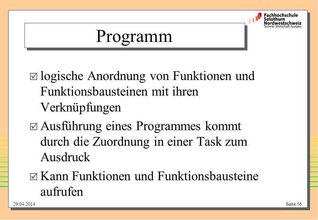 Programm logische Anordnung von Funktionen und Funktionsbausteinen mit ihren Verknüpfungen.