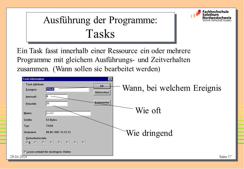 Ausführung der Programme: Tasks
