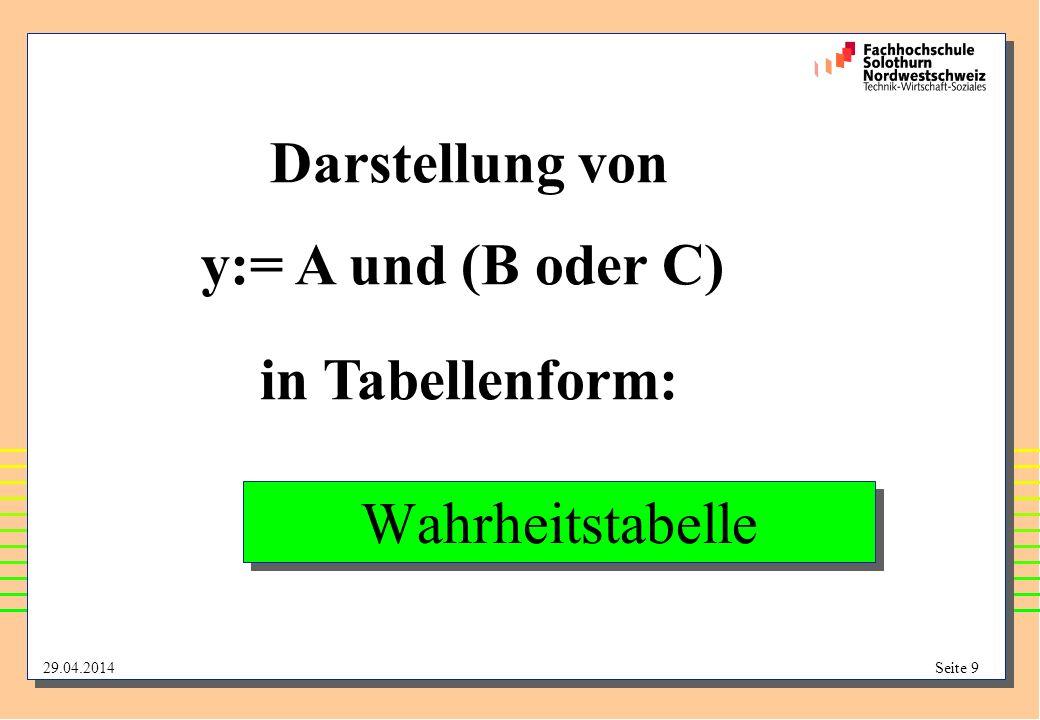 Darstellung von y:= A und (B oder C) in Tabellenform: Wahrheitstabelle