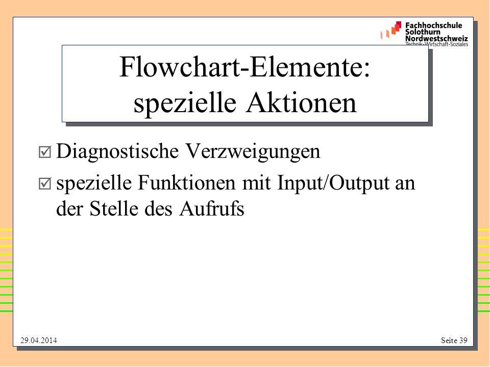 Flowchart-Elemente: spezielle Aktionen