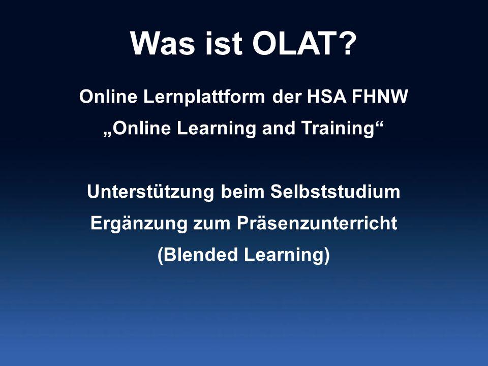 Was ist OLAT Online Lernplattform der HSA FHNW