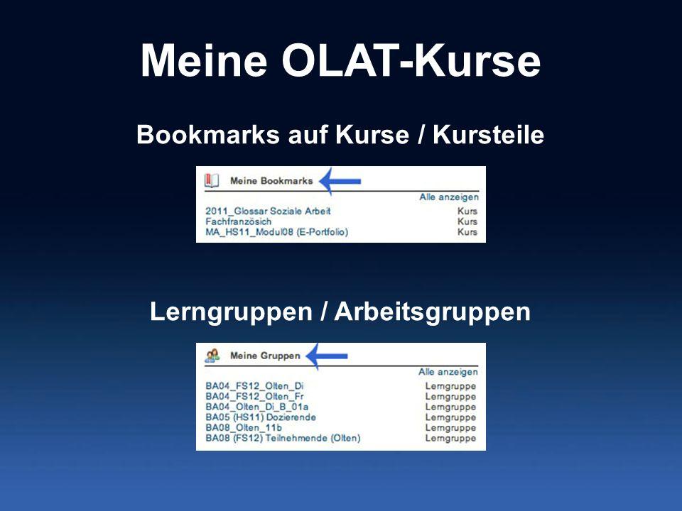 Bookmarks auf Kurse / Kursteile Lerngruppen / Arbeitsgruppen