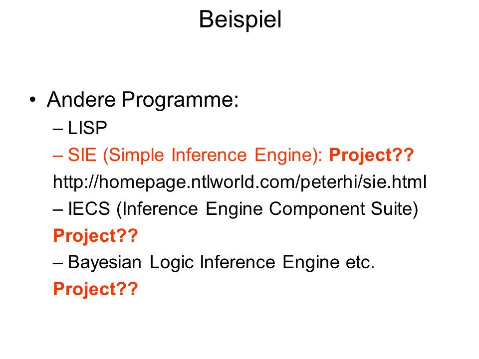Beispiel Andere Programme: LISP