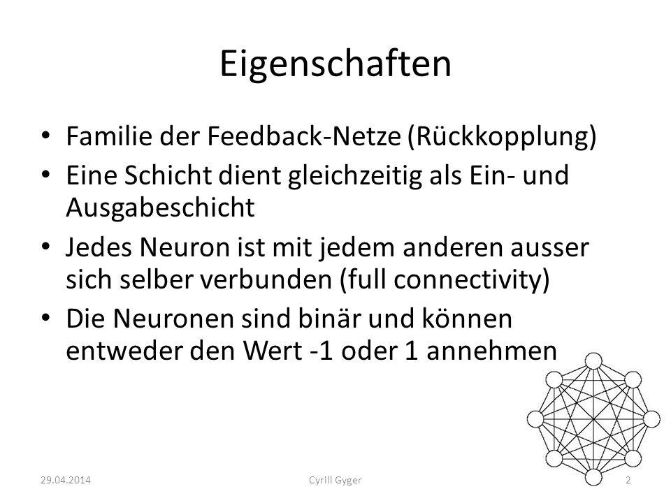 Eigenschaften Familie der Feedback-Netze (Rückkopplung)