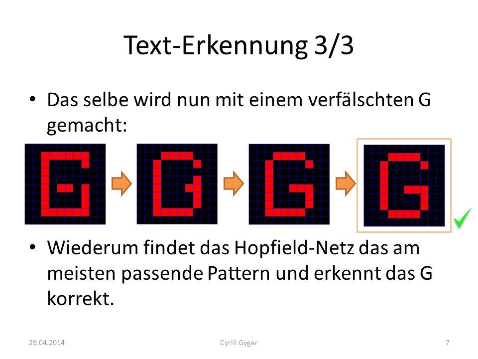 Text-Erkennung 3/3 Das selbe wird nun mit einem verfälschten G gemacht: