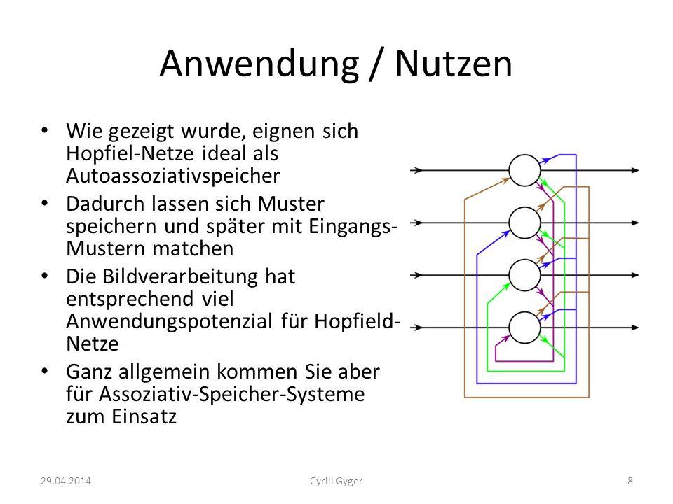Anwendung / Nutzen Wie gezeigt wurde, eignen sich Hopfiel-Netze ideal als Autoassoziativspeicher.