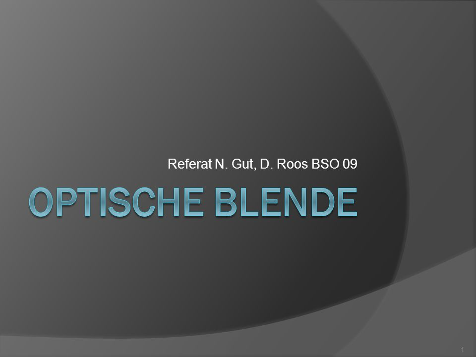 Referat N. Gut, D. Roos BSO 09 Optische Blende