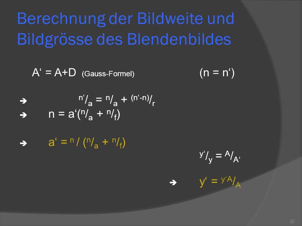 Berechnung der Bildweite und Bildgrösse des Blendenbildes
