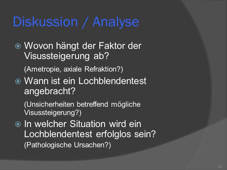 Diskussion / Analyse Wovon hängt der Faktor der Visussteigerung ab