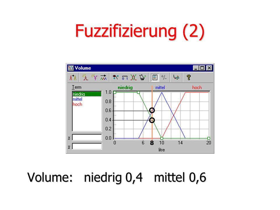 Fuzzifizierung (2) 8 Volume: niedrig 0,4 mittel 0,6