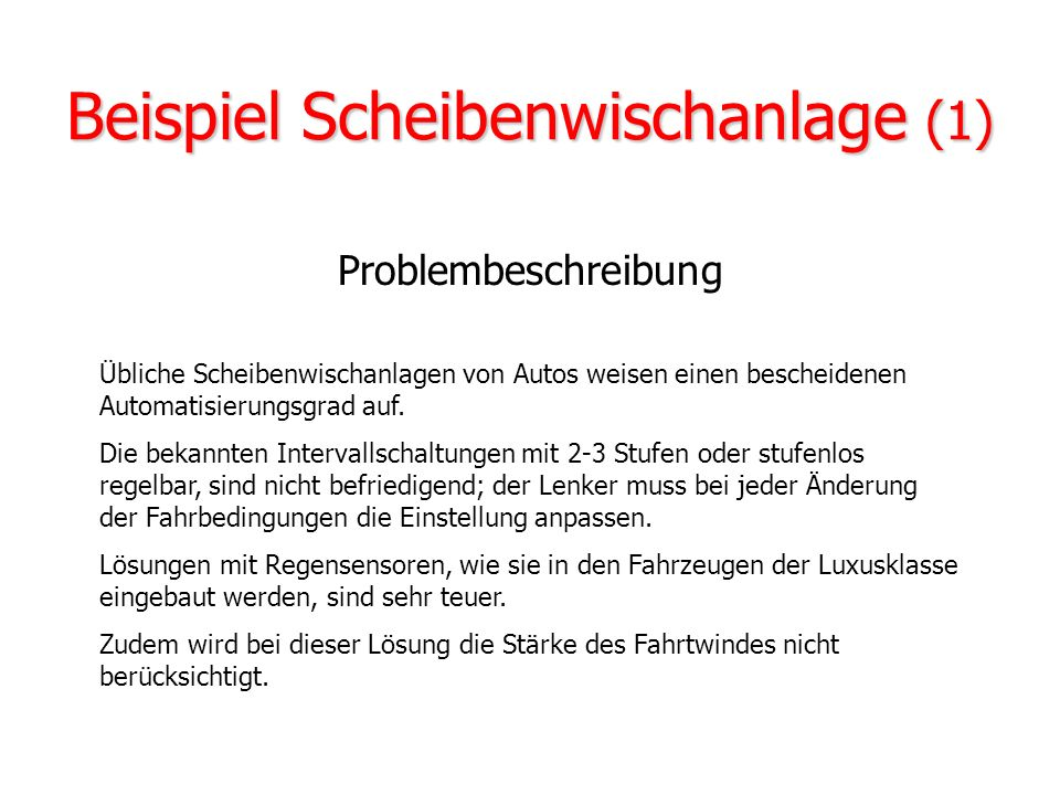 Beispiel Scheibenwischanlage (1)