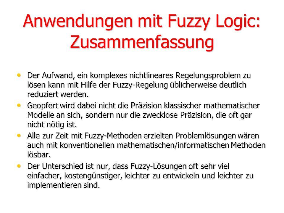 Anwendungen mit Fuzzy Logic: Zusammenfassung