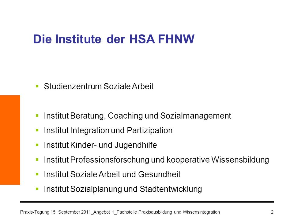 Die Institute der HSA FHNW